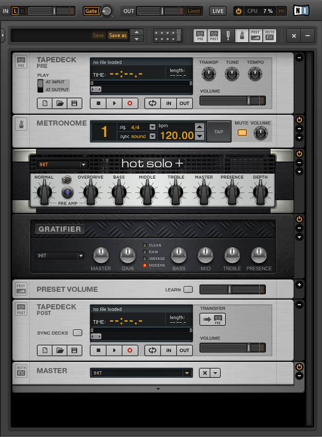 Tape Deck pre and tape deck post of guitar rig 5