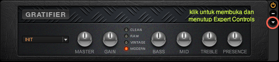 Panel Expert Controls Guitar Rig 5 masih tertutup.