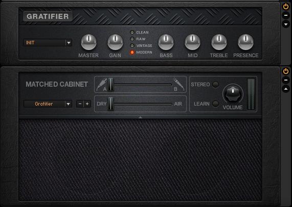 Amplifier Gratifier secara otomatis diload dengan Matched Cabinet khusus untuk Gratifier pada guitar rig 5